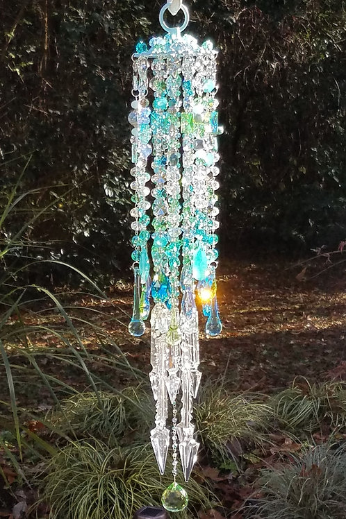 Aqua Blue Antique Crystal Wind Chime