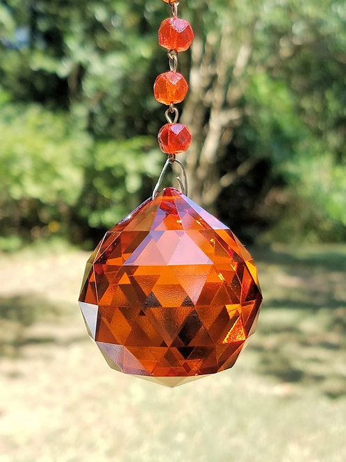 Orange Crystal Ball Sun Catcher