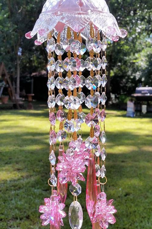 Pink Crystal Sun Catcher, Venetian Pink Sun Catcher