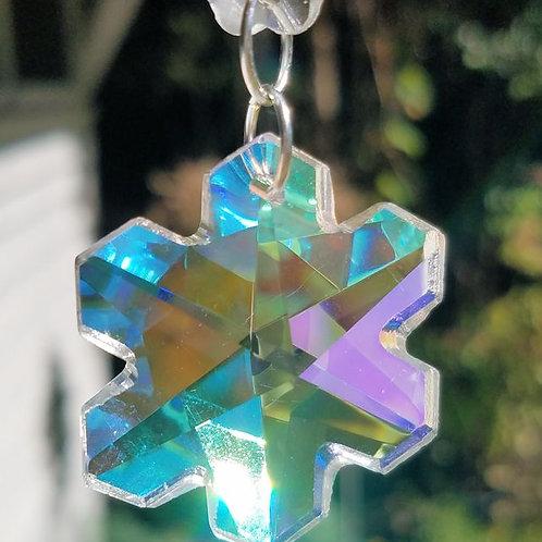 Iridescent Crystal Snow Flake Sun Catcher