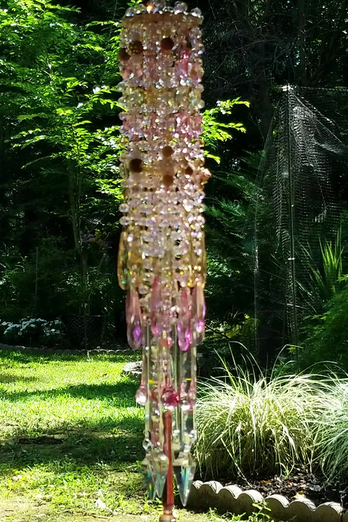 Pink and Gold Antique Crystal Wind Chime