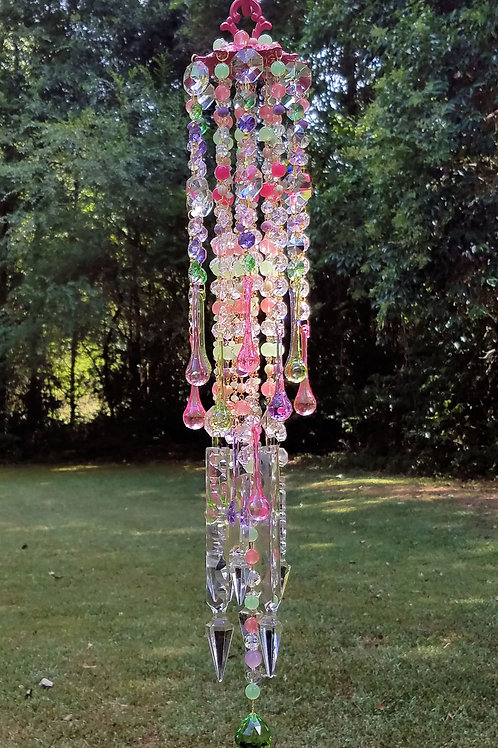 Watermelon and Pistachio Crystal Wind Chime