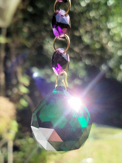 Emerald Green Faceted Crystal Ball Sun Catcher