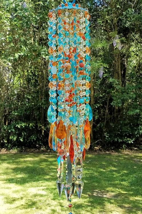 Orange and Turquoise Antique Crystal Wind Chime