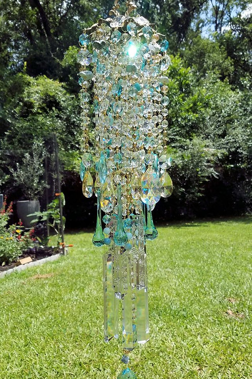 Aqua and Gold Antique Crystal Wind Chime