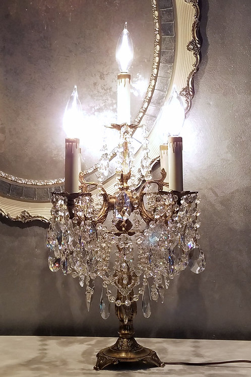 Vintage Candelabra, Table Chandelier, Vintage Crystal Candelabra
