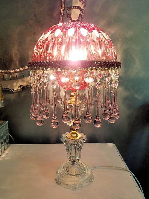 Jewled Cranberry and Pink Crystal Lamp