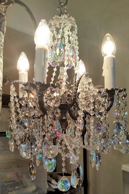 Jeweled Crystal and Pewter Brass Petite Chandelier