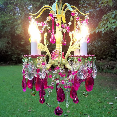Vintage Pink and Green Chandelier