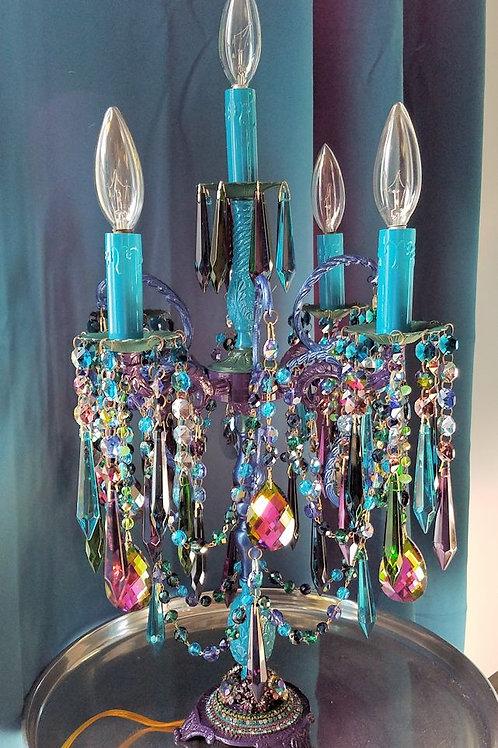 Bohemian Five Light Jeweled Candelabra Table Chandelier