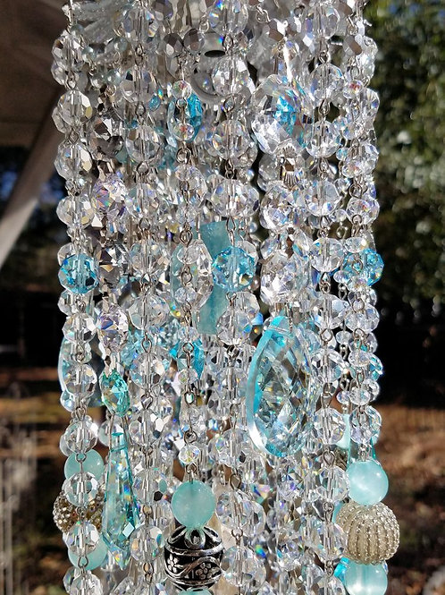 Pale Aqua Antique Crystal Wind Chime with Flowers