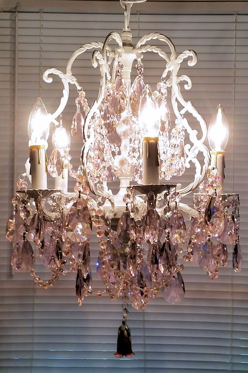 Antique Pink Crystal Chandelier