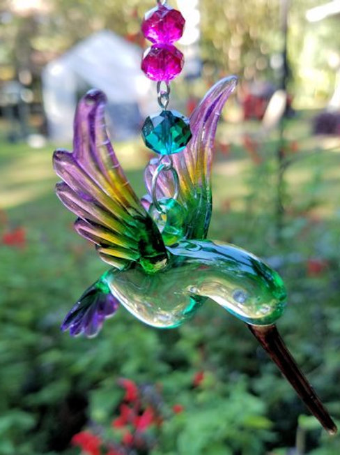Purple Fuchsia and Emerald Hummingbird Sun Catcher