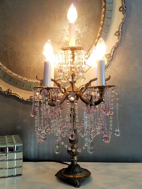 Antique Pink Crystal Candelabra