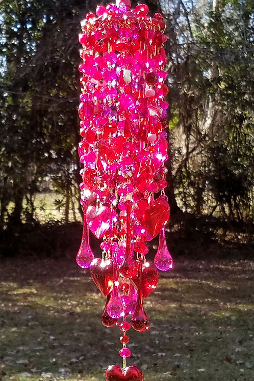 Ruby and Fuchsia Hearts Crystal Sun Catcher