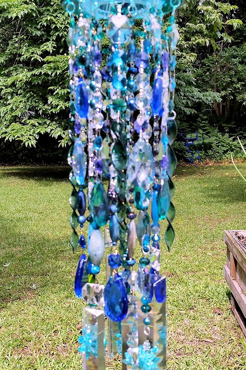 Jellyfish Antique Glass and Crystal Wind Chime