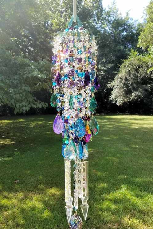 Teal and Purple Crystal Wind Chime
