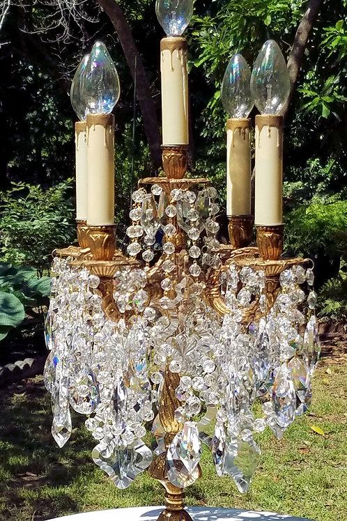 Vintage Antique Crystal and Brass Candelabra