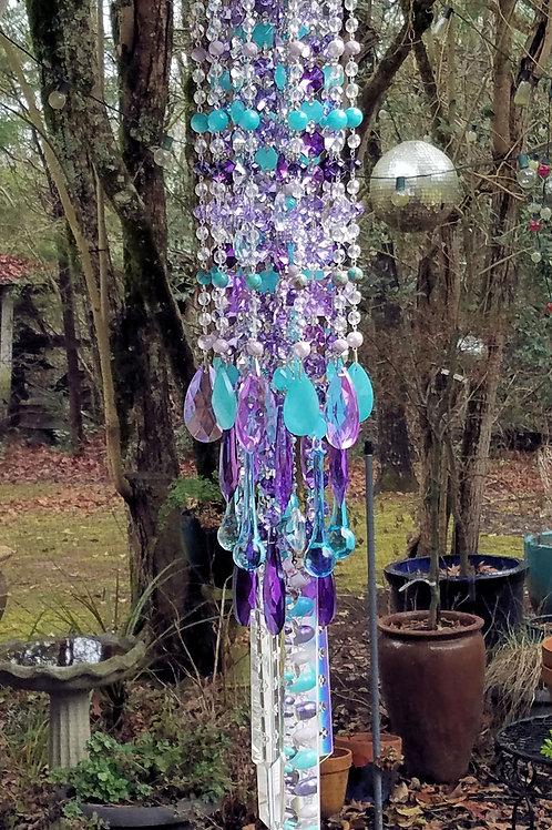 Purple and Aqua Antique Crystal Wind Chime