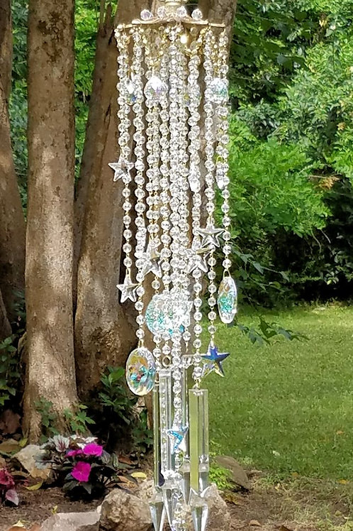 Star Studded Antique Crystal Wind Chime