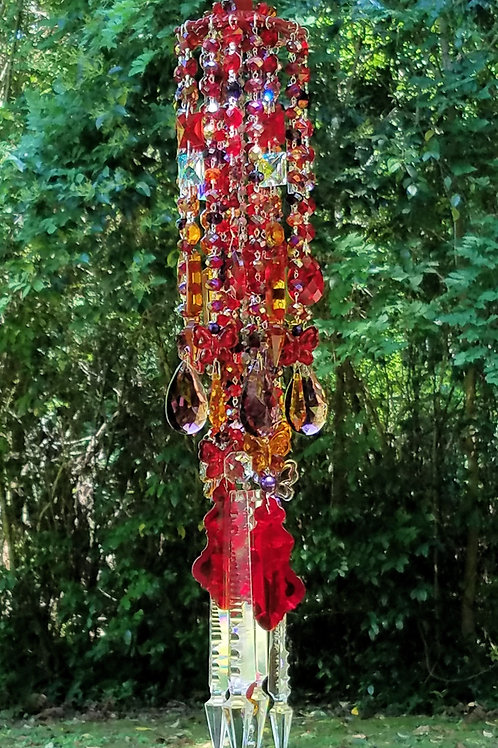 Ruby and Purple Butterflies Wind Chime