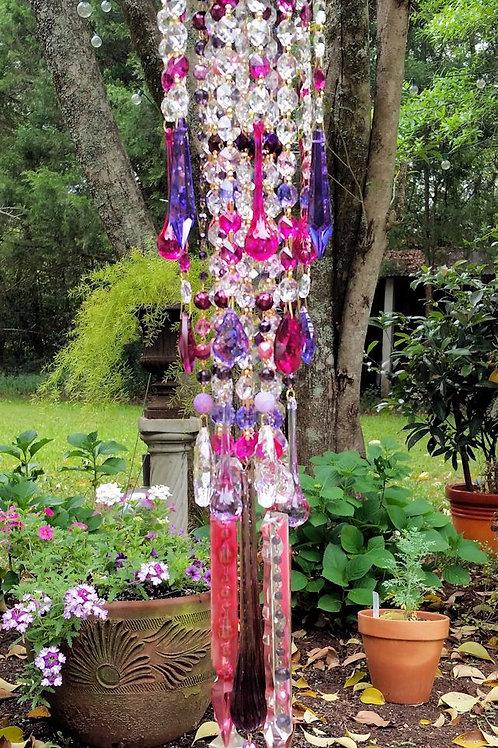 Purple Fuchsia Magenta Antique Crystal Wind Chime
