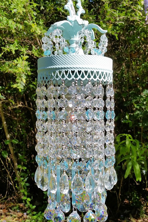 Pale Blue Crystal Waterfall Chandelier