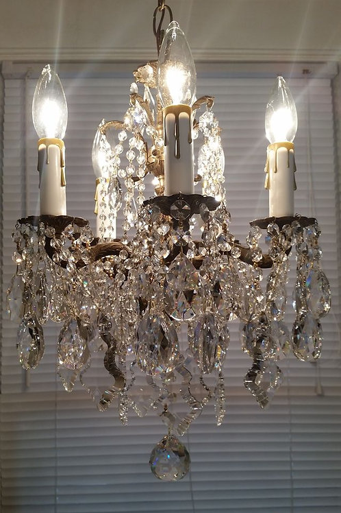 Vintage Petite Brass and Crystal Chandelier
