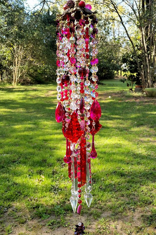 Ruby and Hot Pink Antique Crystal Wind Chime
