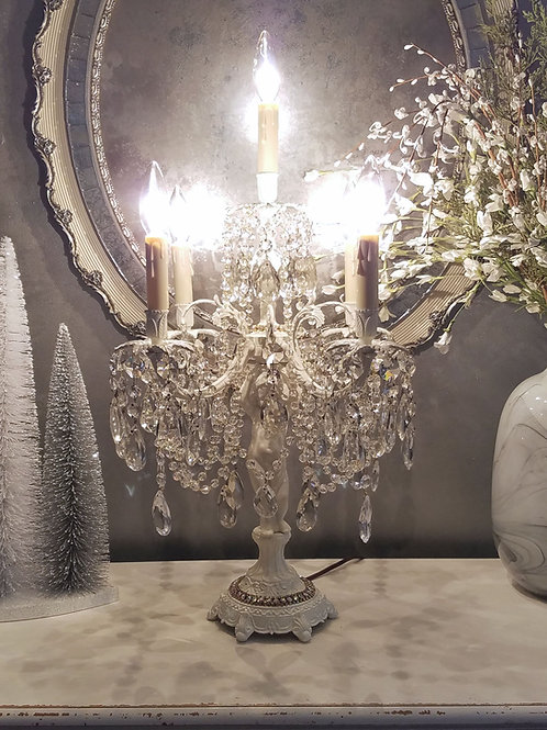 Vintage Cherub and Crystal Candelabra/Table Chandelier