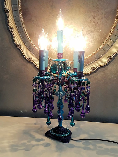 Peacock Candelabra Table Lamp
