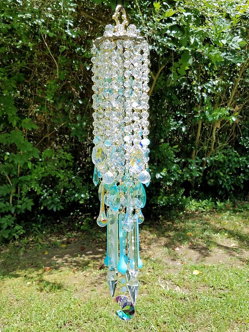 Light Aquamarine and Clear Antique Crystal Wind Chime
