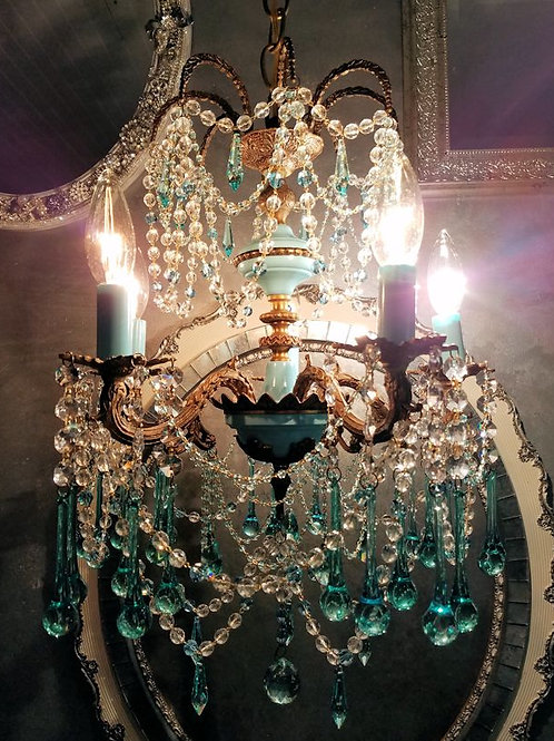 Vintage Tiffany Blue French Chandelier