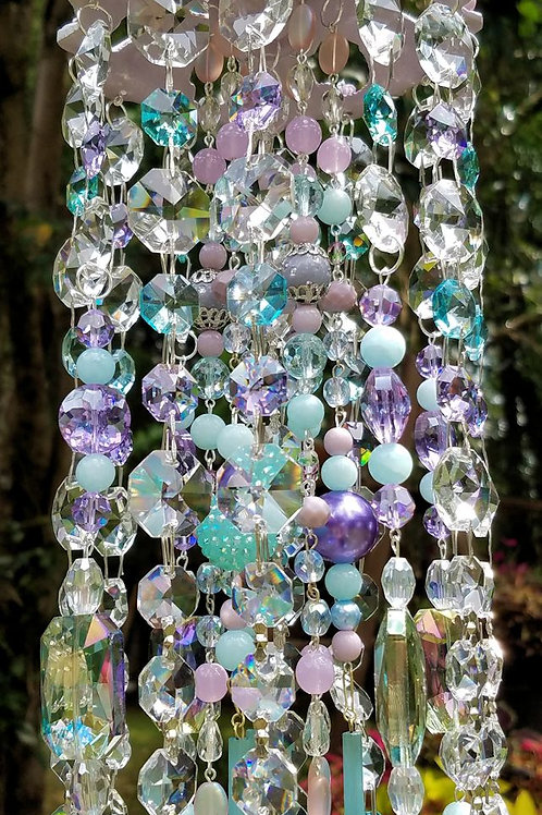 Sky Blue and Lilac Antique Crystal Wind Chime