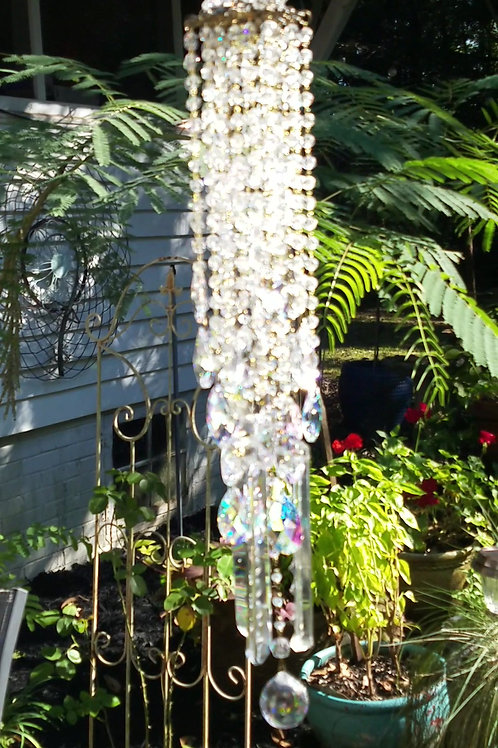 Clear and Aurora Borealis Antique Crystal Wind Chime