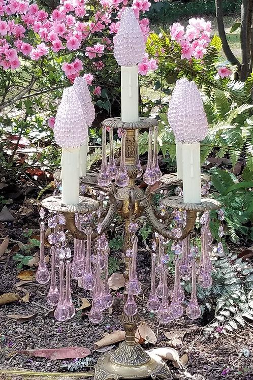Vintage Pink Crystal Candelabra