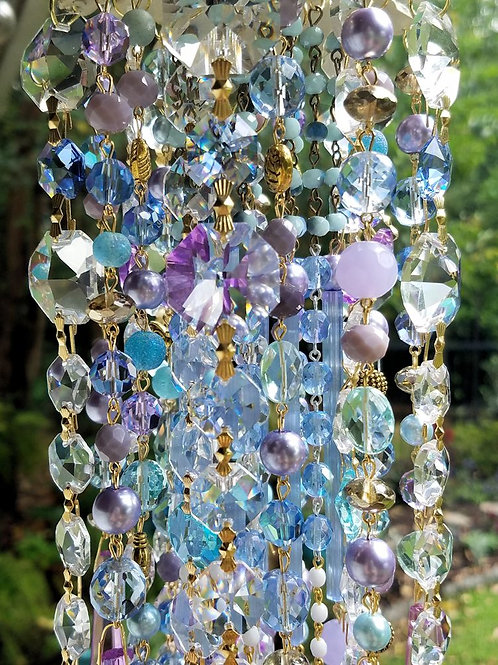 Lilac and Blue Antique Crystal Wind Chime