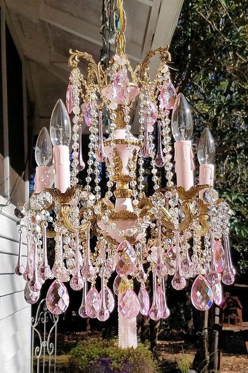 Petite Pink Antique Brass Chandelier