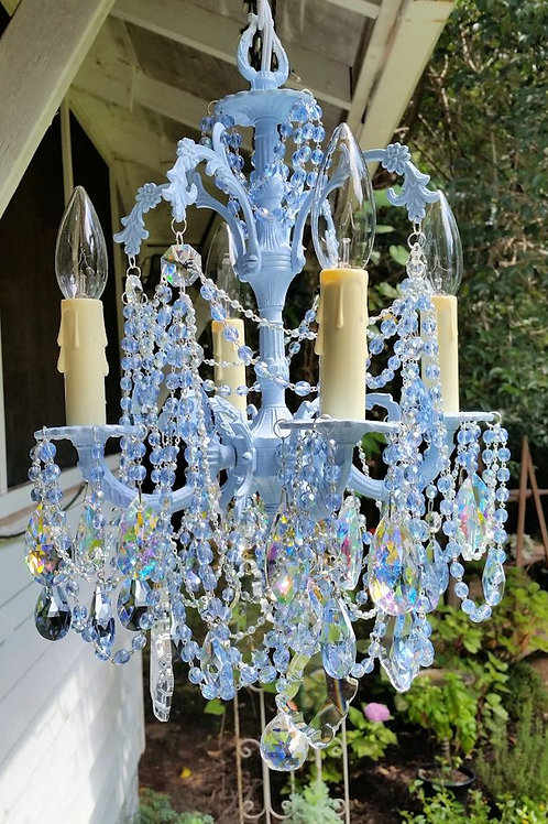 Light Blue Crystal Petite Vintage Chandelier