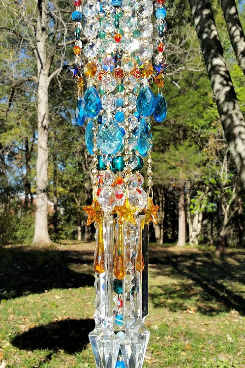 Dazzling Bohemian Stars Antique Crystal Wind Chime