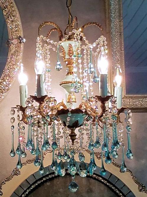 French Blue Vintage Crystal Chandelier