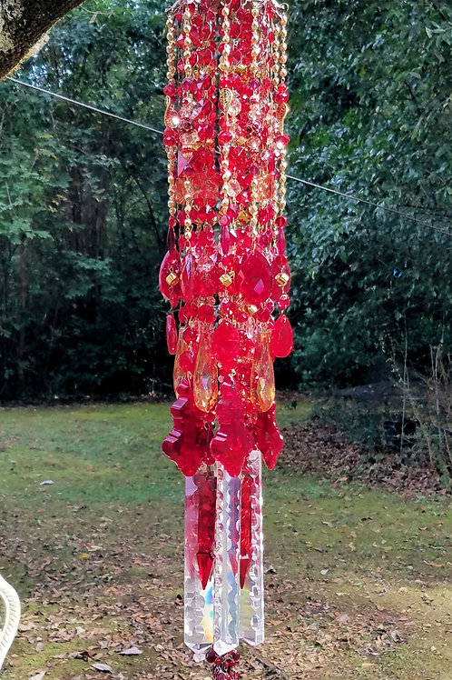 Ruby and Gold Antique Crystal Wind Chime