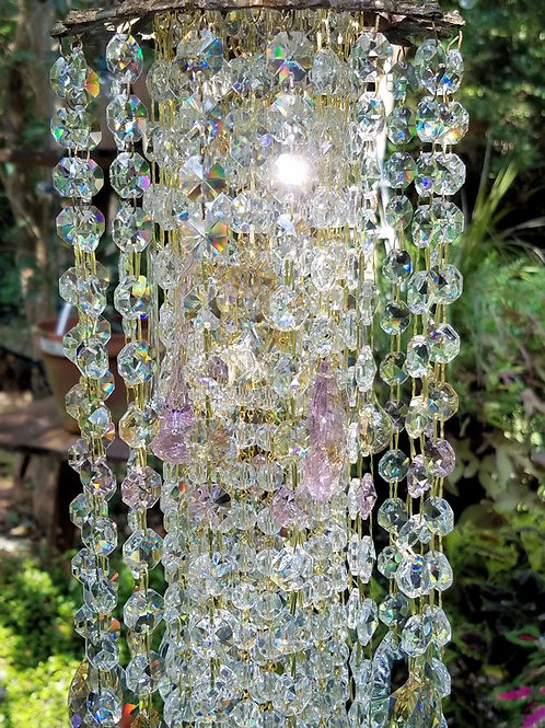 Waterfall Crystal Wind Chime with Pink and Gold