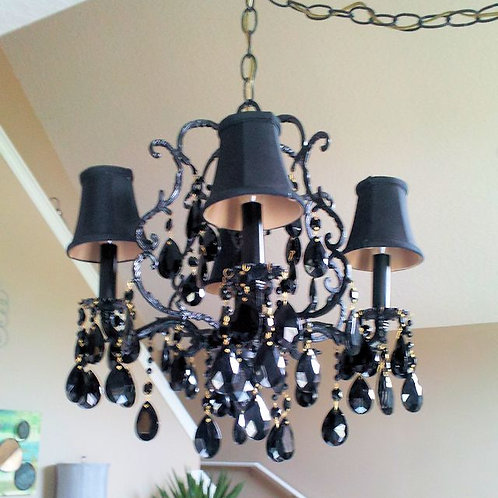 Antique Jet Black Cage Chandelier with Shades