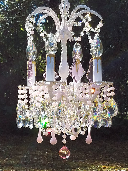 Small Vintage Pink Chandelier