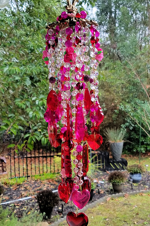 Hearts Valentine Crystal Wind Chime