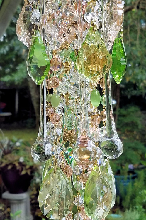 Light Peach and Spring Green Antique Crystal Wind Chime