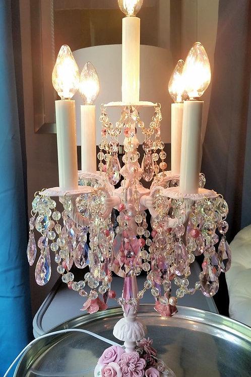 Antique Pink Roses Crystal Candelabra