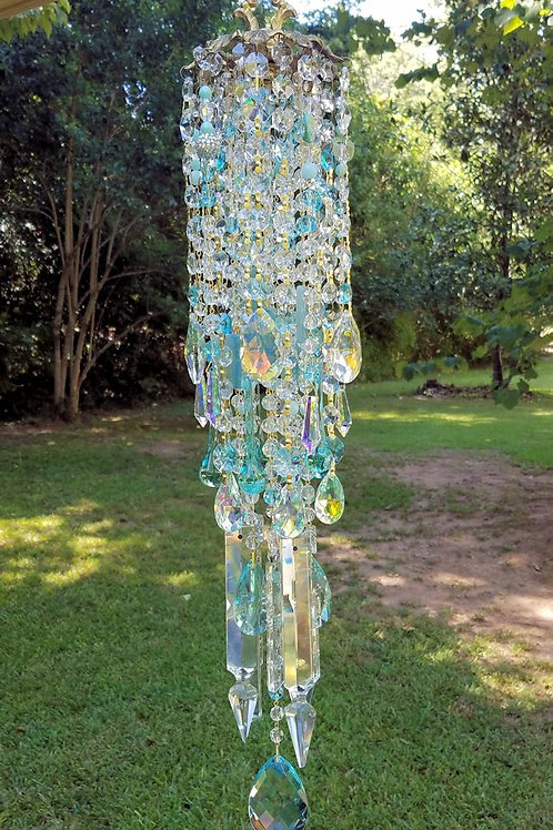 Aqua Antique Crystal Wind Chime