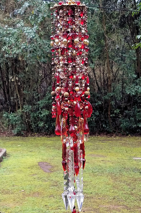 Ruby Red and Gold Antique Crystal Wind Chime